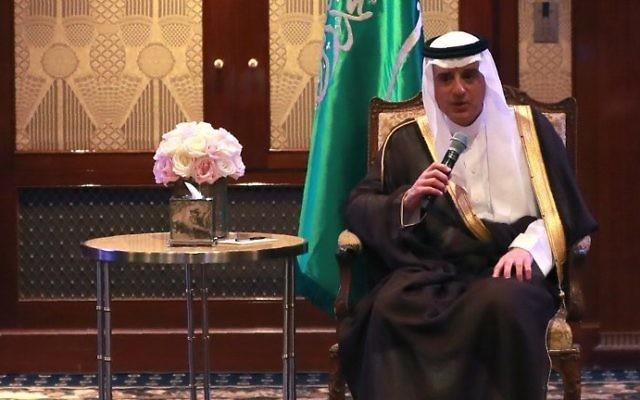 Adel al-Jubeir, ministre saoudien des Affaires étrangères, à Paris, le 6 juin 2017. (Crédit : Jacques Demarthon/AFP)