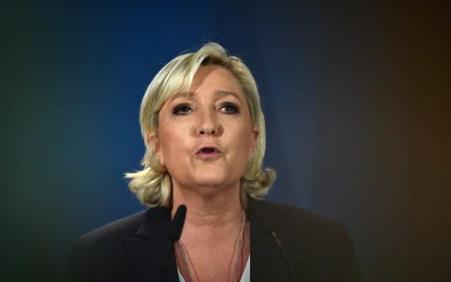 Marine Le Pen, présidente du Front national (FN), au soir du premier tour des élections législatives, à Paris, le 11 juin 2017. (Crédit : Denis Charlet/AFP)