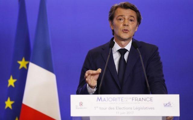 François Baroin, sénateur français Les Républicains et directeur de la campagne des législatives, à Paris, le 11 juin 2017. (Crédit : Patrick Kovarik/AFP)