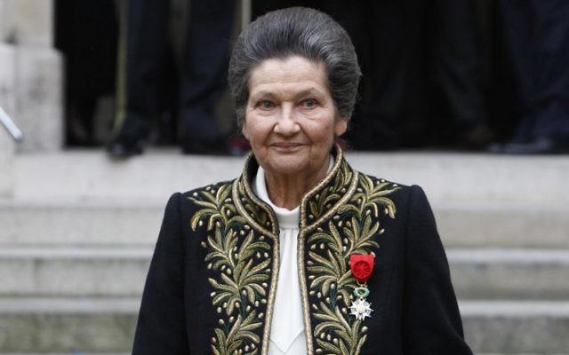 Simone Veil après son entrée à l'Académie française, le 18 mars 2010. (Crédit : François Guillot/AFP)