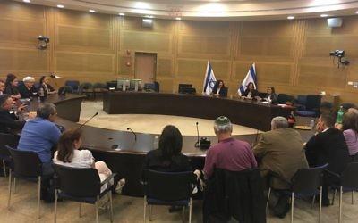 Réunion du Lobby francophone à la Knesset. (Crédit : Facebook)
