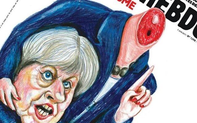 La une de Charlie Hebdo représente le Premier ministre britannique Theresa May tenant sa propre tête décapitée. (Crédit : capture d'écran)