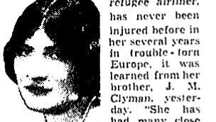 Un article sur le crash de l'avion de Rhea Clyman à Amsterdam en 1938. (Crédit : domaine public)