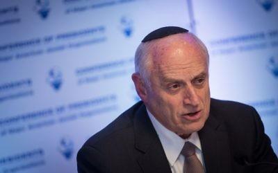 Malcolm Hoenlein, vice-président exécutif de la Conférence des présidents des organisations juives américaines majeures, à Jérusalem, le 19 février 2017 (Crédit : Hadas Parush/Flash90)