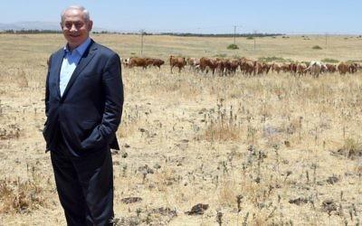 Le Premier ministre Benjamin Netanyahu, au cours d'une visite réalisée sur le plateau du Golan le 6 juin 2017 (Crédit : Haim Zach/GPO)