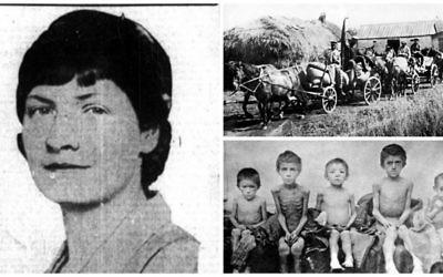 """Dans le sens des aiguilles d'une montre ; Rhea Clyman, photographiée en 1933 dans le Toronto Telegram ; un """"train rouge"""" qui embarquait les récoltes pour le gouvernement soviétique ; des enfants affamés durant la famine. (Crédit : domaine public)"""
