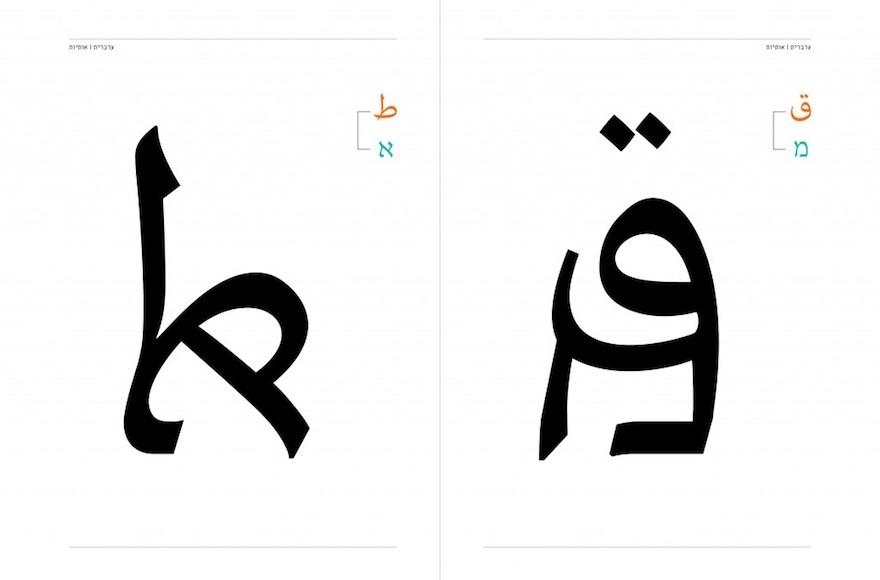 Diagramme montrant comme l'Aravrit combine les lettres des alphabets hébreu et arabe. (Crédit : Liron Lavi Turkenich)