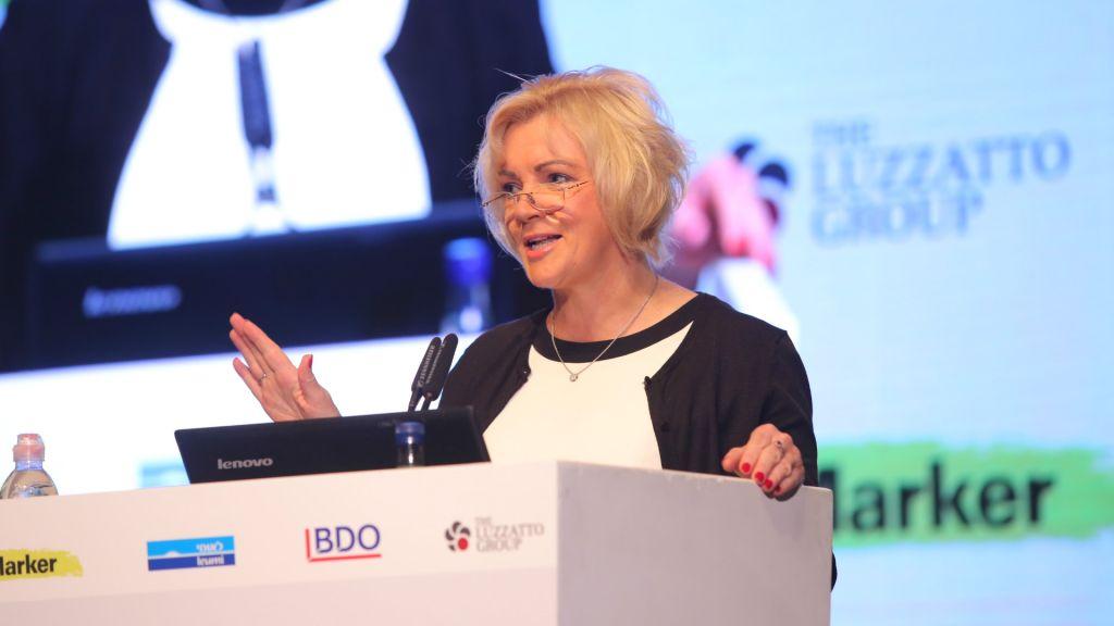 Louise Phelan, vice présidente CEMEA, de PayPal lors de la conférence Technovation à Tel Aviv (Crédit : Autorisation Ofer Vaknin)