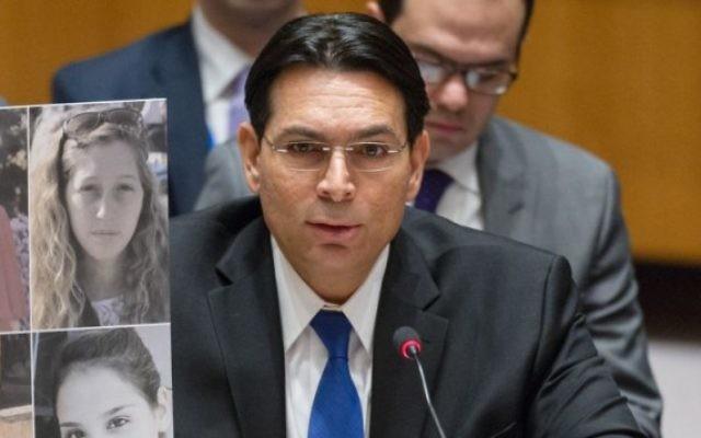 Danny Danon, ambassadeur d'Israël aux Nations unies, devant le Conseil de sécurité, le 17 janvier 2017. (Crédit : autorisation)