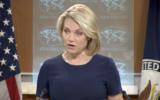 Heather Nauert, porte-parole du département d'Etat américain, à  Washington, le 8 juin 2017. (Crédit : capture d'écran)