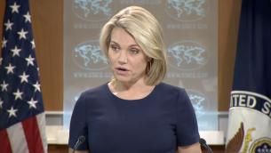 La porte-parole du département d'Etat Heather Nauert s'adresse aux journalistes durant une conférence de presse à  Washington, le 8 juin 2017 (Capture d'écran )