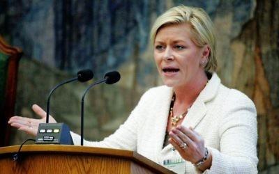 La ministre norvégienne des finances Siv Jensen. (Crédit : CC BY 2.5 dk, Magnus Fröderberg, Wikimedia Commons)
