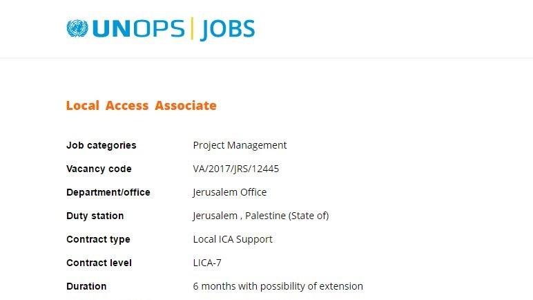 Col re apr s une offre d 39 emploi de l 39 onu localis 39 j rusalem palestine 39 the times of isra l - Employee de bureau offre d emploi ...