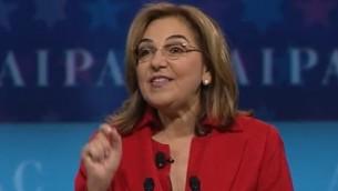 Lillian Pinkus, présidente de l'AIPAC, en mars 2017. (Crédit : capture d'écran YouTube)