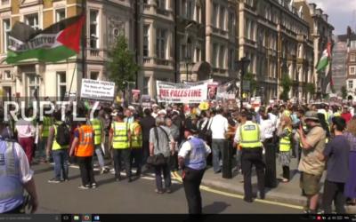 Manifestation pour la journée mondiale d'Al Quds, à Londres, le 18 juin 2017. (Crédit : capture d'écran)
