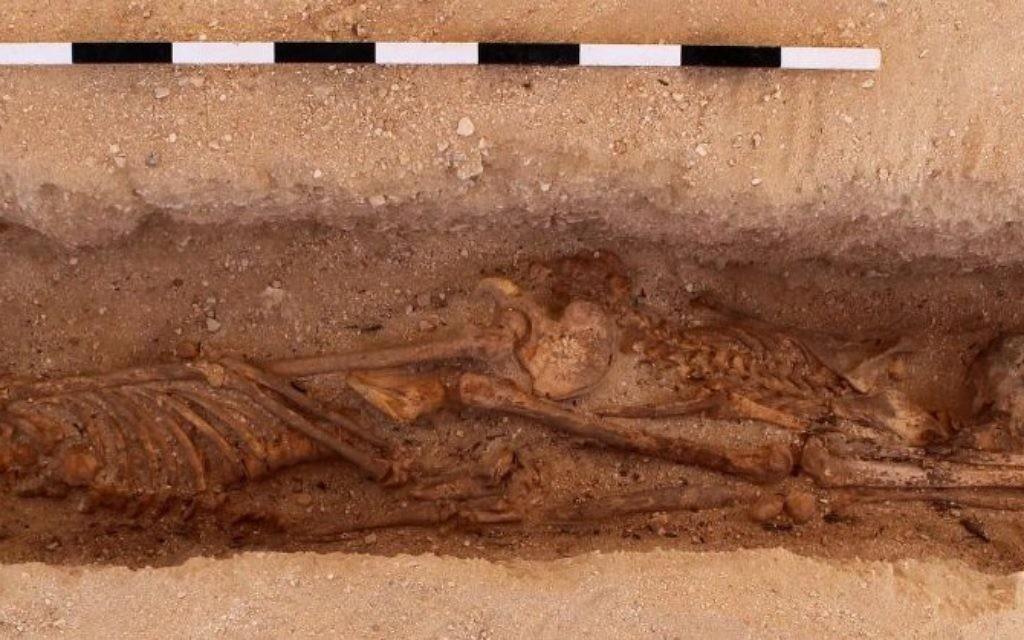 Deux squelettes d'enfants avec leurs têtes à des extrémités opposées au cimetière des Tombes du Nord, au site d'Amarna en Egypte (Crédit : Mary Shepperson / Autorisation du projet Amarna)