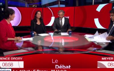 Le débat du 15 juin 2017 d'entre-deux-tours entre Florence Drory et Meyer Habib fut dominé par les questions israéliennes (Crédit: capture d'écran I24News)