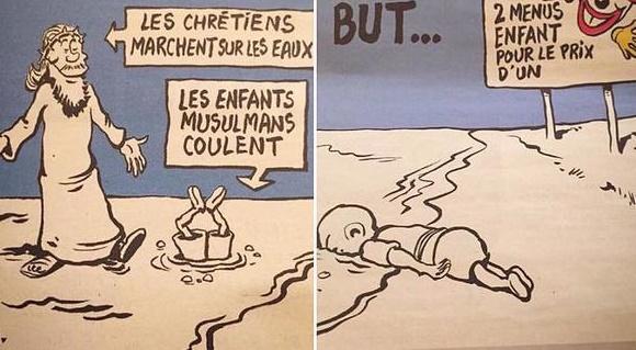Des caricatures de Charlie Hebdo représentant l'enfant kurde syrien mort noyé Aylan Kurdi, dans le numéro du 9 septembre 2015. (Crédit : Charlie Hebdo)