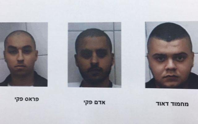 Trois des quatre habitants de Jaljulia accusés d'être liés à un projet d'assassinat présumé d'un officier de l'armée israélienne, le 8 juin 2017. (Crédit : Shin Bet)