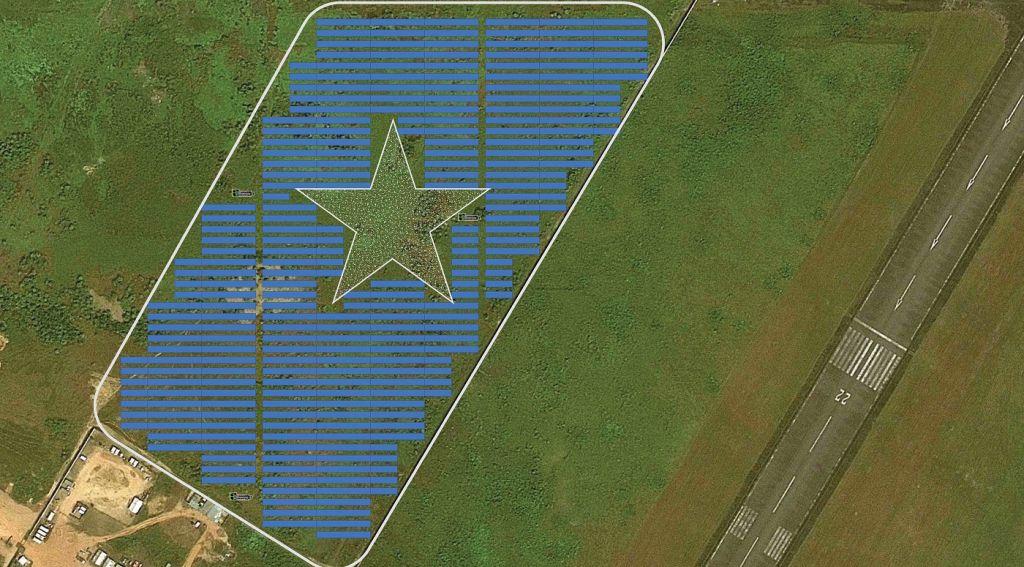 Une maquette du champ photovoltaïque proposé par Energiya Global de 10 mégawatts, situé à côté de l'aéroport international Roberts à Monrovia, au Liberia. Le champ comprend une étoile en l'honneur du drapeau libérien (Autorisation : Energiya Global)