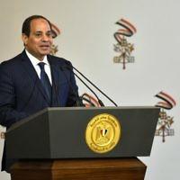 Le président égyptien Abdel Fattah al-Sissi au Caire, le 28 avril 2017. (Crédit : Andreas Solaro/AFP)
