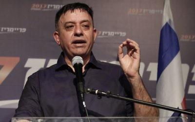 Avi Gabbay, nouveau chef du Parti travailliste, au soir de sa victoire, à Tel Aviv, le 10 juillet 2017. (Crédit : Jack Guez/AFP)