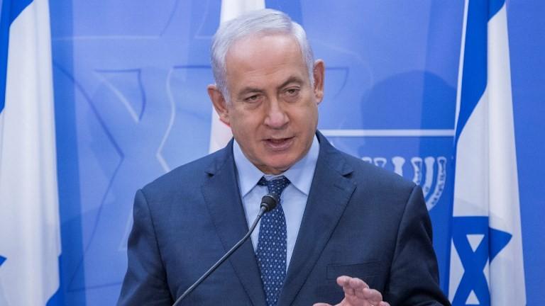 Le Premier ministre Benjamin Netanyahu s'exprime pendant une conférence de presse avec son homologue géorgien au bureau du Premier ministre de Jérusalem, le 24 juillet 2017 (Crédit : Jack Guez/Pool/AFP PHOTO)
