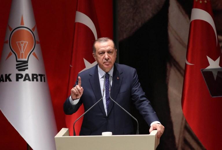 Le président turc Recep Tayyip Erdogan pendant un discours à Ankara, le 1er juillet 2017 (Crédit : AFP / ADEM ALTAN)