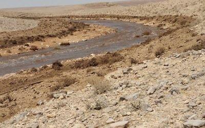 Le cours d'eau boueux d'Ashalim après la fuite de déchets toxiques depuis une usine d'engrais, le 30 juin 2017. (Crédit : ministère de l'Environnement)
