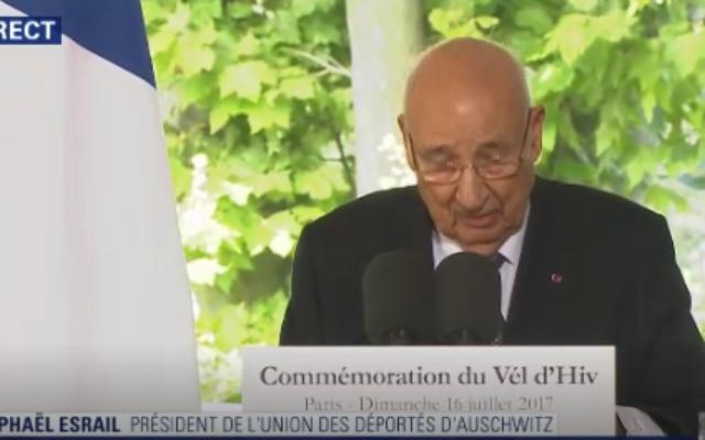 Intervention de Raphaël Esrail, président de l'Union des Déportés d'Auschwitz, le 16 juillet 2017 (Crédit : capture d'écran BFMTV)