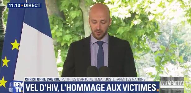 Christophe Cabrol, petit-fils d'Antoine Tena, Juste parmi les Nations (Crédit : capture d'écran BFMTV)