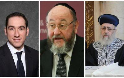 De gauche à droite : Le rabbin  Joseph Dweck (Autorisation), le Grand rabbin britannique Ephraim Mirvis (Bureau des Affaires étrangères et du Commonwealth et le grand rabbin séfarade d'Israël  Yitzhak Yosef (Crédit : CC-SA-GFDL).