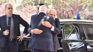 Le président Reuven Rivlin accueille le Premier ministre indien Narendra Modi et à la résidence présidentielle, le 5 juillet 2017. (Autorisation)