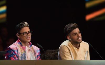 Le duo pop Static, à gauche, & Ben El Tavori, en février 2017. (Crédit : Yonatan Sindel/Flash90)