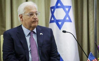L'ambassadeur américain en Israël, David Friedman, lors d'une cérémonie pour les nouveaux ambassadeurs à la résidence du président de Jérusalem le 16 mai 2017. (Crédit :  Noam Revkin Fenton/Pool/Flash90)