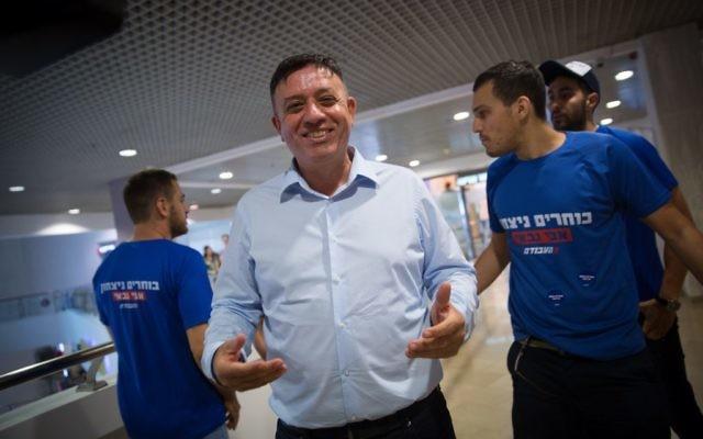 Avi Gabbay le jour de son élection à la tête du Parti travailliste, à Tel Aviv, le 10 juillet 2017. (Crédit : Miriam Alster/Flash90)