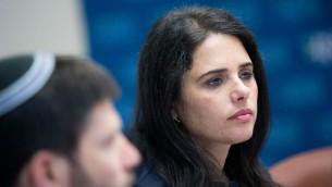 Ayelet Shaked, ministre de la Justice, pendant la réunion du groupe parlementaire de son parti HaByit HaYehudi à la Knesset, le 10 juillet 2017. (Crédit : Yonatan Sindel/Flash90)
