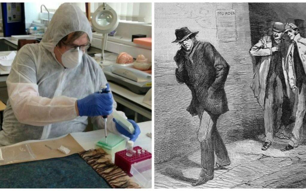 À gauche, le Dr Jari Louhelainen faisant des tests d'ADN sur un châle trouvé à côté d'une des victimes de Jack l'éventreur. À droite, un sketch du journal du 13 octobre 1888 représentant Jack l'éventreur (Crédit : Jari Louhelainen / AFP ; domaine public)