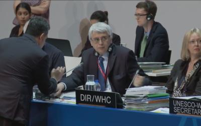 Photo prise lors du débat à l'UNESCO avant le vote de la résolution pour placer Hébron sur la liste des patrimoines en danger (Crédit : Capture d'écran site Web de l'UNESCO)