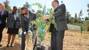 Paul Kagame, président du Rwanda, plante un arbre dans l'Oliveraie des Nations du KKL, le 10 juillet 2017. (Crédit : Yosi Zamir/KKL-JNF)