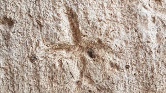 Les gravures sur les murs du réservoir d'eau de Rosh HaAyin, ici des croix. (Crédit : Gilad Itach, IAA)