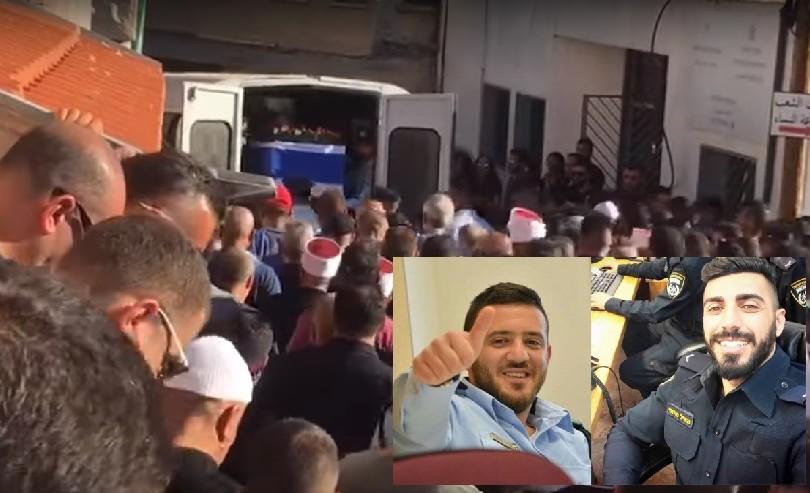 Les funérailles de Haiel Sitawe, 30 ans, à Maghar dans le nord d'Israël, et son portrait en insert, le 14 juillet 2017. (Crédit : police israélienne)