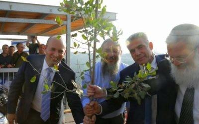 (De g à d) Le ministre de l'Education, Naftali Bennett, le président du conseil régional de Gush Etzion, Shlomo Neeman, le président de Yesh Atid, Yair Lapid, et le vice-ministre de la Défense, Eli Ben Dahan, plantent un arbre lors d'une cérémonie à l'avant-poste de Netiv Ha'avot le 23 juillet 2017. (Autorisation : Conseil régional du Gush Etzion)     Les résidents de Netiv Ha'avot protestent contre la décision de la Haute Cour de démolir 17 structures de leur avant-poste, démontrant à l'extérieur de la Knesset le 17 juillet 2017. (Jacob Magid / Times of Israel)