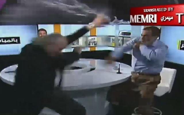 Bagarre entre des invités de la télévision libanaise, le 10 juillet 2017. (Crédit : capture d'écran MEMRI)