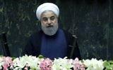 Hassan Rouhani, le président iranien, devant le parlement, à Téhéran, le 5 août 2017. (Crédit : Atta Kenare/AFP)