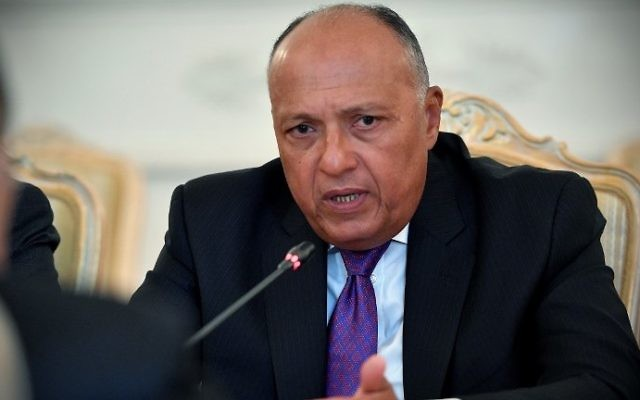 Sameh Choukri, le ministre égyptien des Affaires étrangères, à Moscou, le 21 août 2017. (Crédit : Alexander Nemenov/AFP)