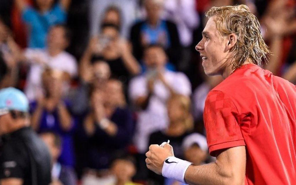 Denis Shapovalov , joueur canadien né en Israël, après sa victoire face à l'Espagnol Rafael Nadal au septième jour de la Coupe Rogers à Montréal, le 10 août 2017. (Crédit : Minas Panagiotakis/Getty Images/AFP)