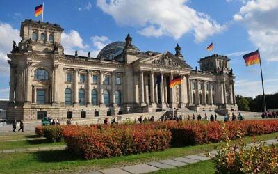 Palais du Reichstag à Berlin, en septembre 2012 (Crédit : Hofec, Switzerland/Wikimedia commons/CC BY-SA 3.0)