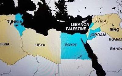 Infographie d'ABC News Australia, qui indique la Palestine, et qui supprime Israël, dans le cadre d'un reportage sur le droit des femmes violées dans des pays musulmans. (Crédit : capture d'écran ABC)