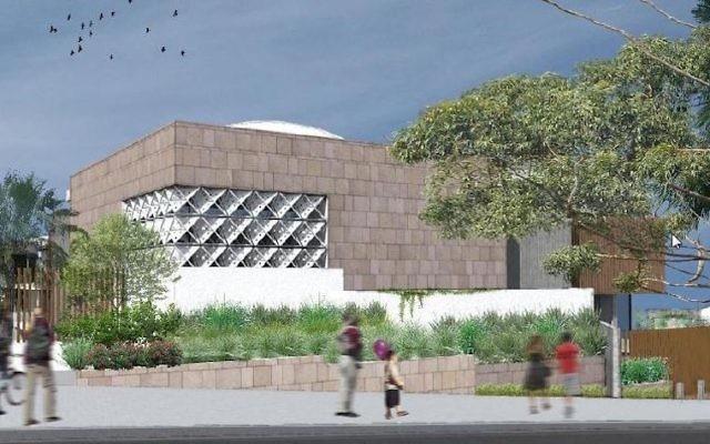 Un dessin d 'architecte montre le projet de synagogue qu'un groupe affilié au mouvement Habad, l'Amicale des réfugiés d'Europe de l'est, espérait faire construire à proximité d'une plage populaire de Sydney, en Australie (Crédit : Amicale des réfugiés d'Europe de l'est)